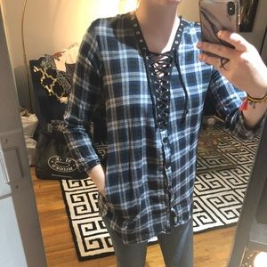 Tops - Lace Up Flannel